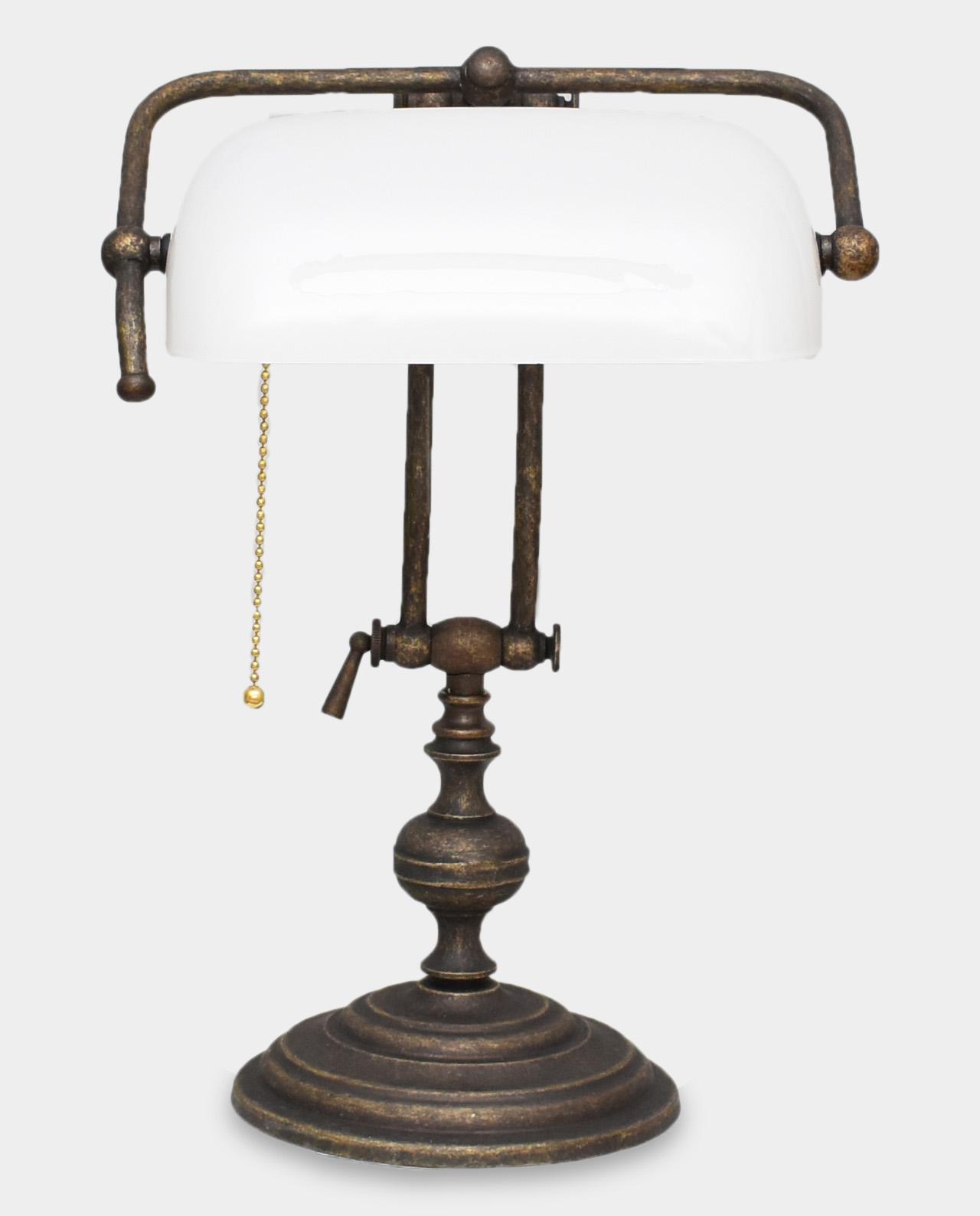 Banker Lamp In Art Deco Style White Bronze Sculpture Art